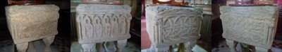 ...the four faces of the font, South, East, North, West.