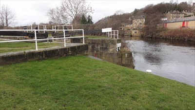 This shows the junction with the main course of the River Calder