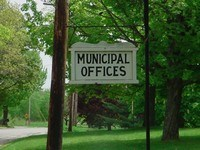 """This is the sign in front of this Town Hall.  It has been here a long time.  It is unknown why there is no designation as a """"Town Hall""""."""