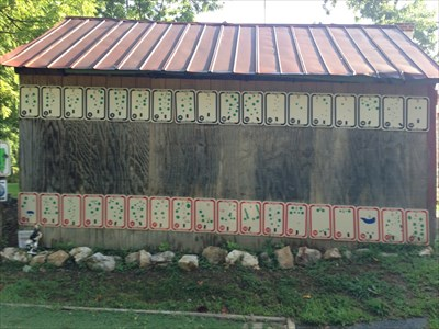 Hole Signs for All 18 holes of Both Blockhouse Courses are posted on the side of this barn, Spotsylvania, Virginia