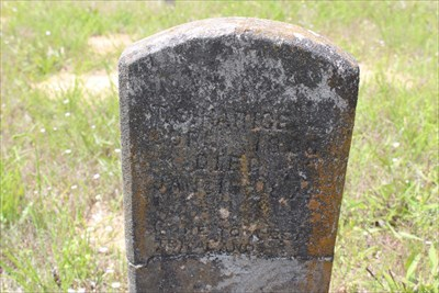 T.S. Harice, who appears to have the earliest legible headstone in the cemetery, dated January 1874.