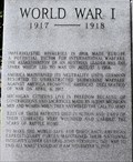 Image for 1st World War Plaque - Michigan Veterans Memorial , Lansing, Michigan.