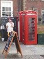 Image for 'World's smallest coffee shop' opens in phone box' - Nottingham, Nottinghamshire, England, UK.