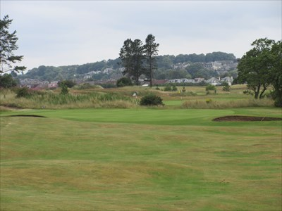 The fifth hole plays back towards the town.