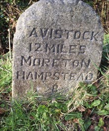A granite Milestone on Dartmoor, Devon UK