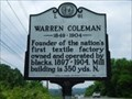 Image for Warren Coleman Marker , First Textile Mill Owned/Operated by Blacks