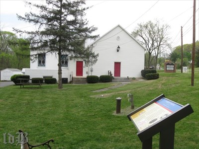 A CWDT marker stands at the Asbury Chapel where Stonewall Jackson began his march to Front Royal.