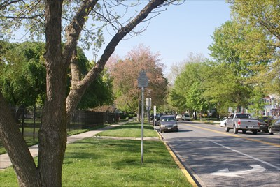 The view looking north along Union Avenue from the marker