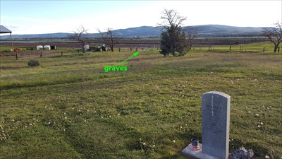 view of the Hill family graves purposely buried far from the rest of the internments because of the lynching and family history of theft and other crimes against the community of Lookout