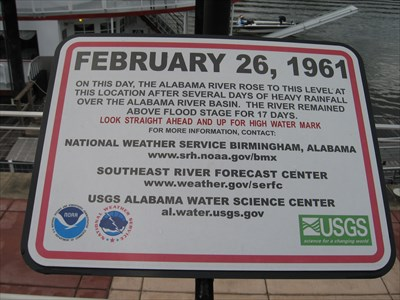 Sign about record flood stage.