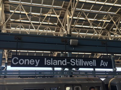 Stillwell Avenue Sign at the end of the subway Line 