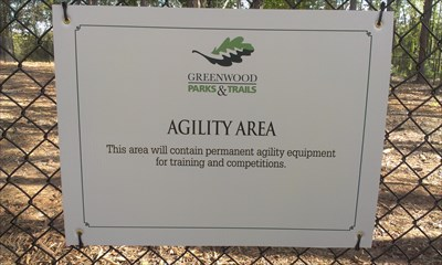 The agility course has yet to be installed, when it is updated photos will be added.