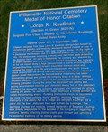 Image for Willamette National Cemetery Medal of Honor Citation: Loren R. Kaufman - Portland, Oregon