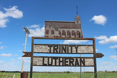 Neat sign out on TX 240, pointing the way.  There's another one on the road leading to the church.