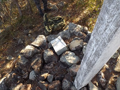 """Looking down on the rock cairn of the trig. 0800, Thursday, 16 November, 2017 With """"B"""", of LAB Service"""