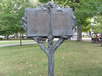Arbre de métal et arbre ou sont inscrit les informations sur la commémoration du centenaire de la ville.