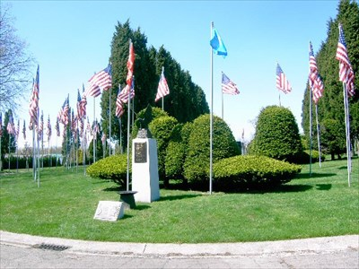 This memorial honors those who fell while attempting an ill-fated rescue mission for the Iran hostages.