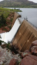 The dam overflowing