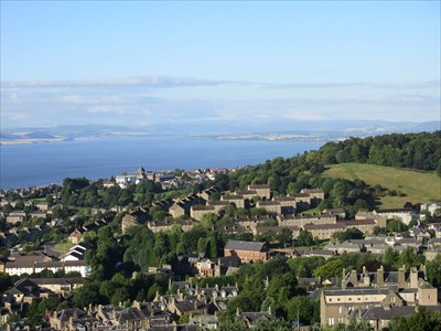 Looking towards the west side of Dundee with the Firth of Tay beyond.