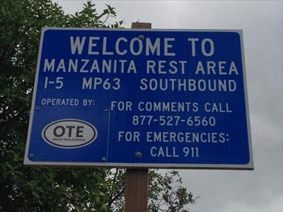 Manzanita Rest Area Sign, I-5 Southbound, Oregon