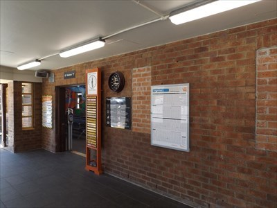 Location view of the Community Commemoration plaque.Up, above the platform entry of the Train Station.1147, Sunday, 1 October, 2017