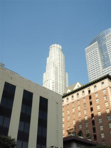 US Bank Tower (Center, back) ,  Gas Company Tower (right) and Biltmore Hotel (foreground, right)-Downtown Los Angeles, CA