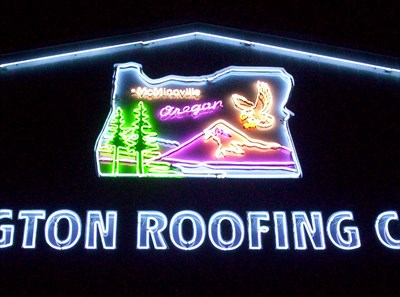 Washington Roofing Company   McMinnville, Oregon   Artistic Neon Lights On  Waymarking.com