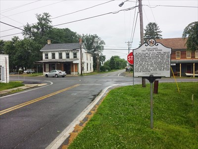 The marker is at a crossroads in the quiet town of Still Pond.