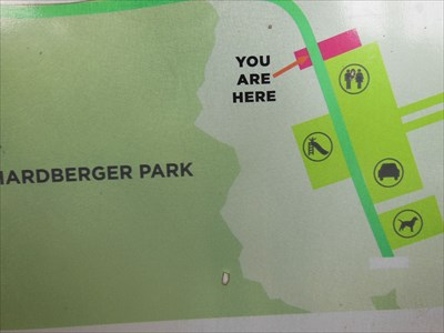 This is the You Are Here indicator on sign #2 showing North Salado Creek Greenway trails going from Phil Hardberger Park to Huebner Road, a 2.0 mile extension of the trails along Salado Creek.