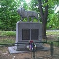Image for Lion statue on monument to victims WWI&II - Olovnice, Czechia