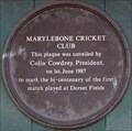 Image for First Cricket Match - 200 years - Dorset Square, London, UK