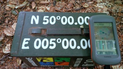 Our GPS showing the coordinates which are also written on the Cache :)
