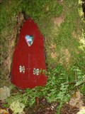 Image for Red Fairy Door with Heart-shaped Window - Portpatrick, Scotland, UK