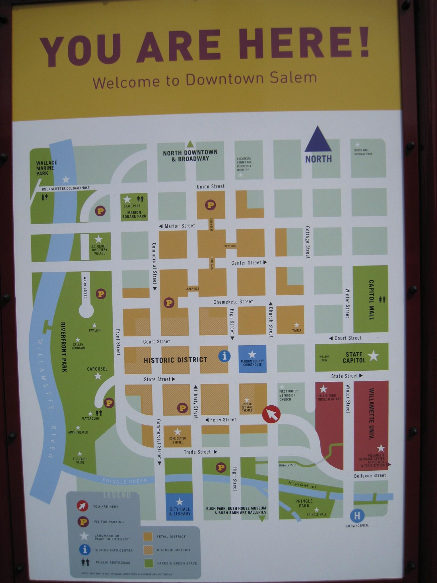 Map Of Downtown Salem Oregon Church & Ferry