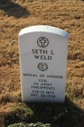 Image for COL Seth L. Weld, US Army -- Fort Sam Houston National Cemetery, San Antonio TX