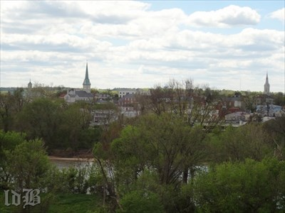 A view from Chatham of Fredericksburg across the Rappahannock River (in foreground) where the Union suffered a bloody defeat in 1862.