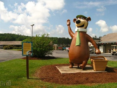 Hard to miss Yogi Bear when driving down the road.