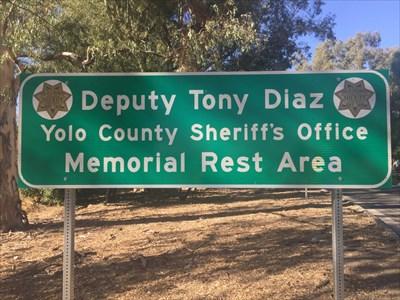Rest Area Sign near Entrance, Yolo County, California