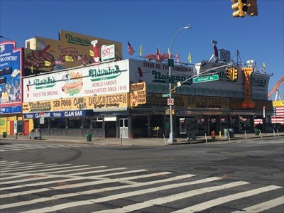 Nathan's Hot Dogs WIth the Bone SIgn, Brooklyn, New York