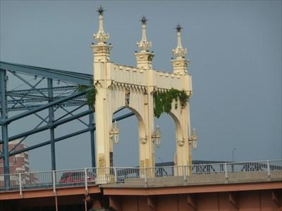 Decorative steelwork and finials on the Smithfield Street Bridge.