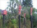 Image for Maori Carvings. Te Whaiti. North Island. New Zealand.