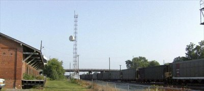 Northbound passing the old freight depot.