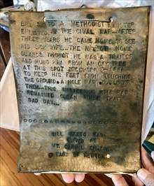 Original plaque that was washed downriver in 1990 and recovered.