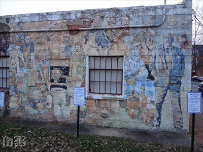 The right side of the mural showing people engaged in the craft of pottery. The mural is old and faded