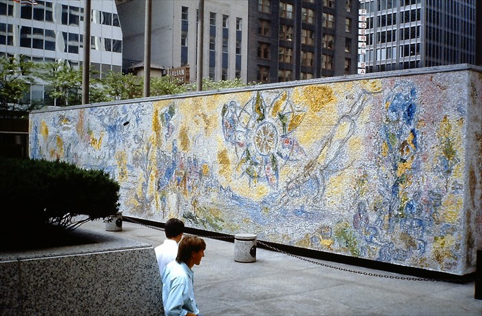 Four seasons mural by marc chagall chicago illinois image for Chagall mural chicago