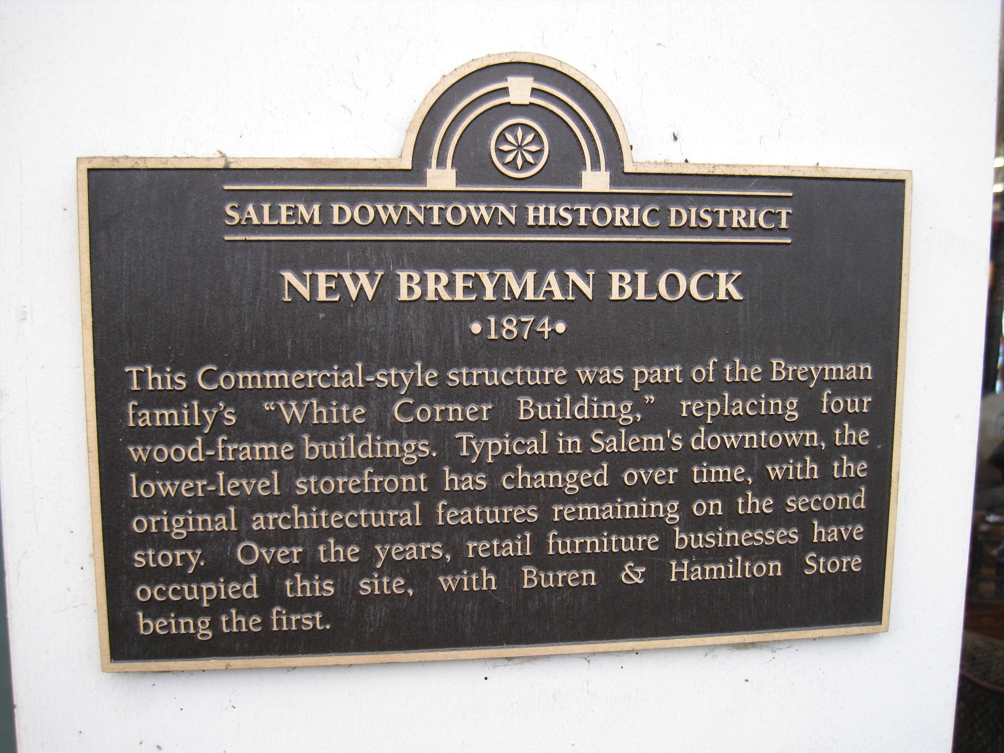 New Breyman Block Salem Downtown Historic District