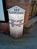 Image for 136 Miles to London Milestone, Derby Road, Ripley, Derbyshire, UK