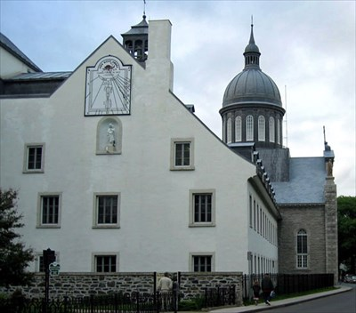 The south west wall of the Ursulines Convent showing the size and location of the sundial.