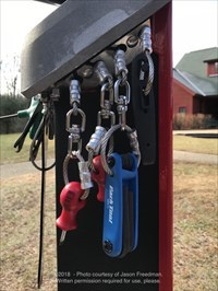Bicycle Repair Station tools - Blackstone River Bikeway at I-295 North in Lincoln, Rhode Island.