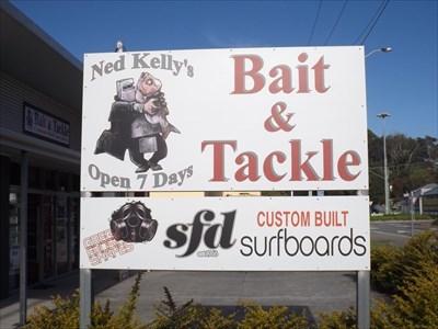 Close up of the Bait Shop sign.Gordon Street, Port Macquarie.0814, Sunday, 22 October, 2017